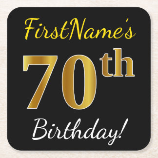 Black, Faux Gold 70th Birthday + Custom Name Square Paper Coaster