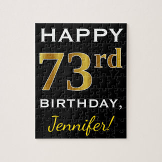 Black, Faux Gold 73rd Birthday + Custom Name Jigsaw Puzzle
