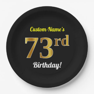 Black, Faux Gold 73rd Birthday + Custom Name Paper Plate
