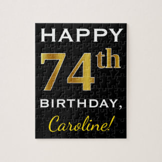 Black, Faux Gold 74th Birthday + Custom Name Jigsaw Puzzle