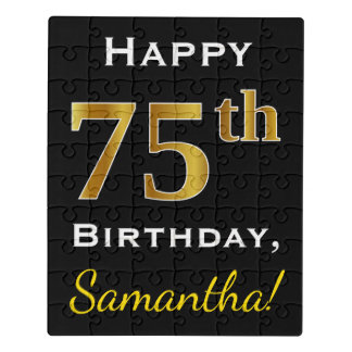 Black, Faux Gold 75th Birthday + Custom Name Jigsaw Puzzle