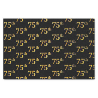 Black, Faux Gold 75th (Seventy-Fifth) Event Tissue Paper