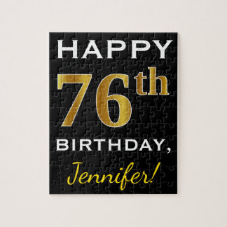 Black, Faux Gold 76th Birthday + Custom Name Jigsaw Puzzle