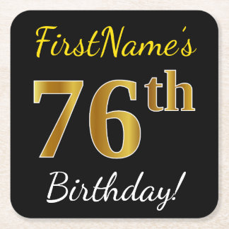 Black, Faux Gold 76th Birthday + Custom Name Square Paper Coaster