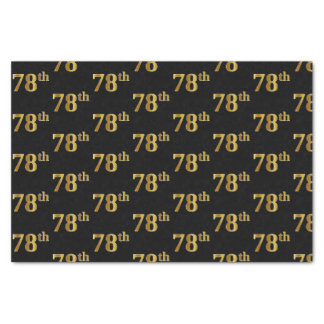 Black, Faux Gold 78th (Seventy-Eighth) Event Tissue Paper