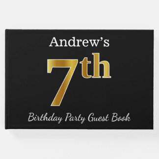 Black, Faux Gold 7th Birthday Party + Custom Name Guest Book