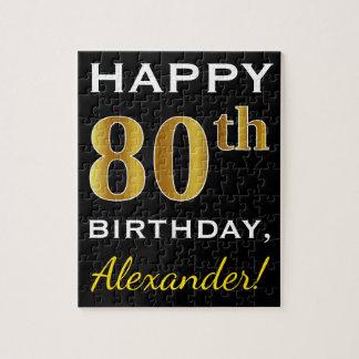 Black, Faux Gold 80th Birthday + Custom Name Jigsaw Puzzle