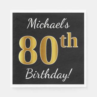 Black, Faux Gold 80th Birthday + Custom Name Paper Napkins