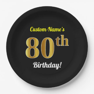 Black, Faux Gold 80th Birthday + Custom Name Paper Plate