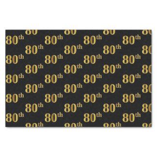 Black, Faux Gold 80th (Eightieth) Event Tissue Paper