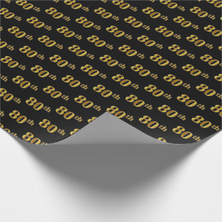 Black, Faux Gold 80th (Eightieth) Event Wrapping Paper