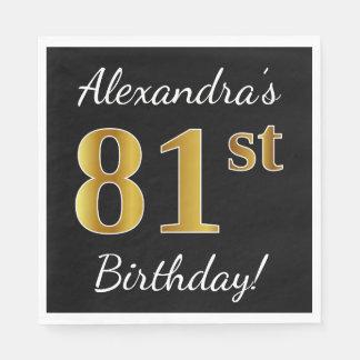 Black, Faux Gold 81st Birthday + Custom Name Paper Napkins