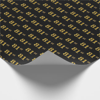 Black, Faux Gold 81st (Eighty-First) Event Wrapping Paper