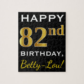 Black, Faux Gold 82nd Birthday + Custom Name Jigsaw Puzzle