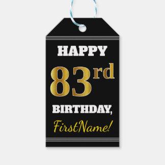 Black, Faux Gold 83rd Birthday + Custom Name Gift Tags