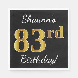 Black, Faux Gold 83rd Birthday + Custom Name Paper Serviettes