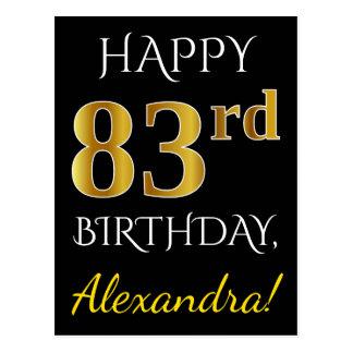 Black, Faux Gold 83rd Birthday + Custom Name Postcard