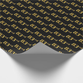 Black, Faux Gold 83rd (Eighty-Third) Event Wrapping Paper