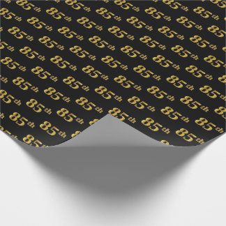 Black, Faux Gold 85th (Eighty-Fifth) Event Wrapping Paper