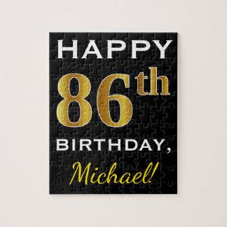 Black, Faux Gold 86th Birthday + Custom Name Jigsaw Puzzle