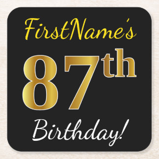 Black, Faux Gold 87th Birthday + Custom Name Square Paper Coaster