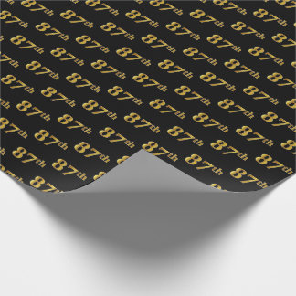 Black, Faux Gold 87th (Eighty-Seventh) Event Wrapping Paper