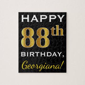 Black, Faux Gold 88th Birthday + Custom Name Jigsaw Puzzle