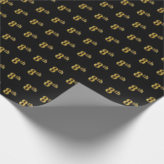 Black, Faux Gold 8th (Eighth) Event Wrapping Paper