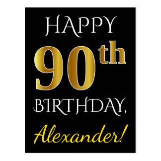 Black, Faux Gold 90th Birthday + Custom Name Postcard