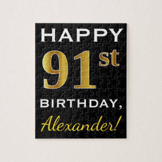 Black, Faux Gold 91st Birthday + Custom Name Jigsaw Puzzle