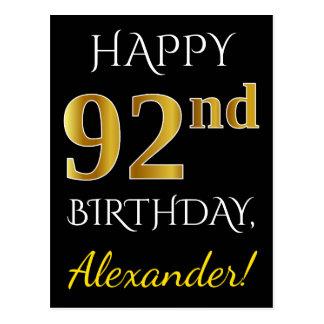 Black, Faux Gold 92nd Birthday + Custom Name Postcard