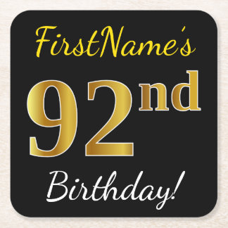 Black, Faux Gold 92nd Birthday + Custom Name Square Paper Coaster