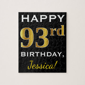 Black, Faux Gold 93rd Birthday + Custom Name Jigsaw Puzzle