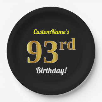Black, Faux Gold 93rd Birthday + Custom Name Paper Plate