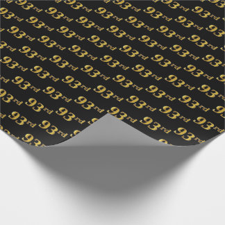 Black, Faux Gold 93rd (Ninety-Third) Event Wrapping Paper