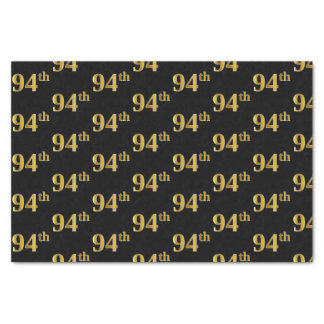 Black, Faux Gold 94th (Ninety-Fourth) Event Tissue Paper
