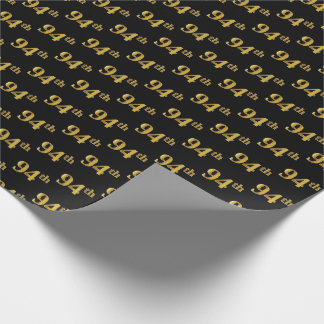 Black, Faux Gold 94th (Ninety-Fourth) Event Wrapping Paper