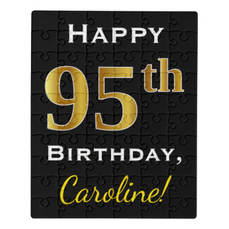 Black, Faux Gold 95th Birthday + Custom Name Jigsaw Puzzle