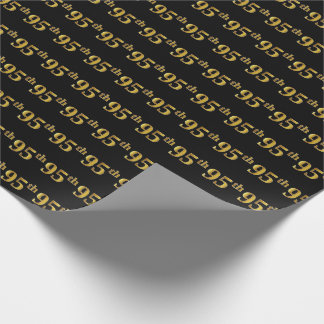 Black, Faux Gold 95th (Ninety-Fifth) Event Wrapping Paper