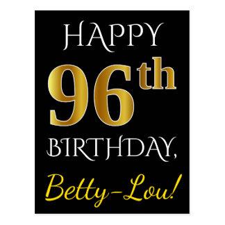Black, Faux Gold 96th Birthday + Custom Name Postcard