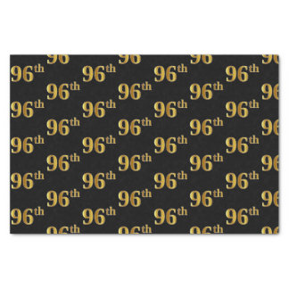 Black, Faux Gold 96th (Ninety-Sixth) Event Tissue Paper