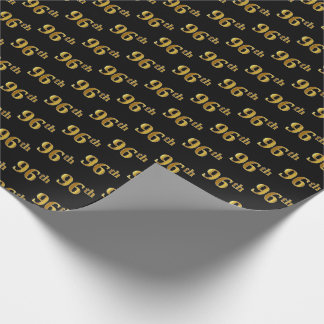 Black, Faux Gold 96th (Ninety-Sixth) Event Wrapping Paper