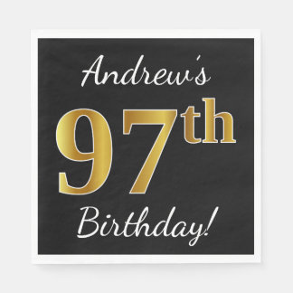 Black, Faux Gold 97th Birthday + Custom Name Disposable Serviettes