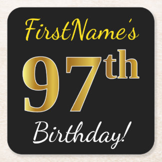 Black, Faux Gold 97th Birthday + Custom Name Square Paper Coaster