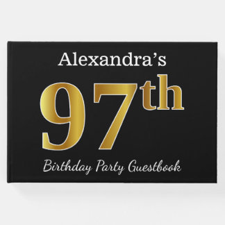 Black, Faux Gold 97th Birthday Party + Custom Name Guest Book