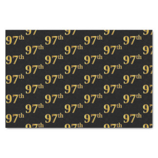 Black, Faux Gold 97th (Ninety-Seventh) Event Tissue Paper