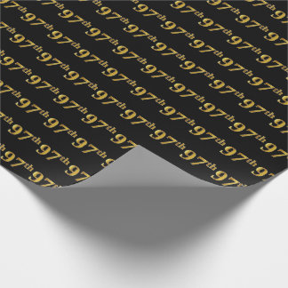Black, Faux Gold 97th (Ninety-Seventh) Event Wrapping Paper