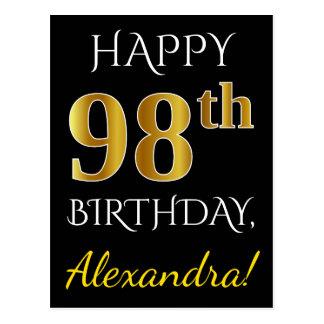 Black, Faux Gold 98th Birthday + Custom Name Postcard