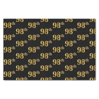 Black, Faux Gold 98th (Ninety-Eighth) Event Tissue Paper