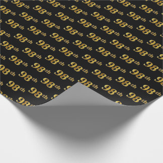 Black, Faux Gold 98th (Ninety-Eighth) Event Wrapping Paper